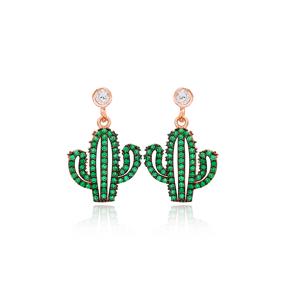 Green Cactus Dangle Earring Handmade Turkish 925 Sterling Silver Jewelry
