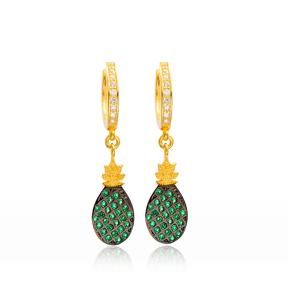 Pineapple Design Dangle Earrings Turkish Wholesale Handmade 925 Sterling Silver Jewelry