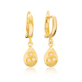 Drop Shape Dangle Earrings Turkish Wholesale Handmade 925 Sterling Silver Jewelry
