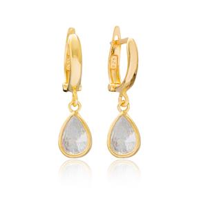Pearly Drop Shape Dangle Earrings Turkish Wholesale Handmade 925 Sterling Silver Jewelry