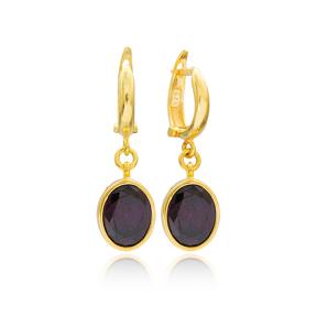 Oval Shape Purple Stone Turkish Wholesale Handmade 925 Sterling Silver Dangle Earrings