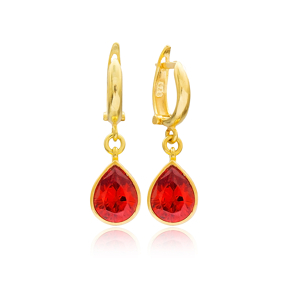 Drop Shape Garnet Stone Turkish Wholesale Handmade 925 Sterling Silver Dangle Earrings