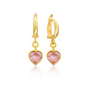 Heart Shape Pink Stone Turkish Wholesale Handmade 925 Sterling Silver Dangle Earrings