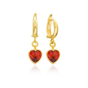 Heart Shape Garnet Stone Turkish Wholesale Handmade 925 Sterling Silver Dangle Earrings