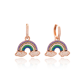 Intertwined Rainbow and Cloud Design Turkish Wholesale Handmade 925 Sterling Silver Dangle Earrings