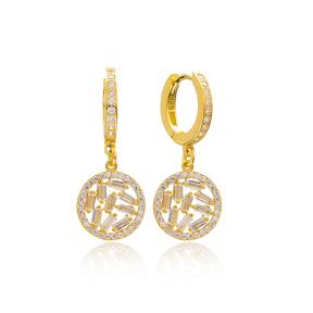 Zircon Baguette Elegant Dangle Earring Turkish Wholesale 925 Sterling Silver Jewelry