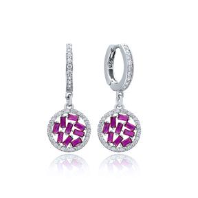 Ruby Stone Baguette Elegant Dangle Earring Turkish Wholesale 925 Sterling Silver Jewelry