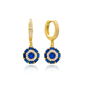 Dainty Design Sapphire Stone Baguette Dangle Earring Turkish Wholesale 925 Sterling Silver Jewelry