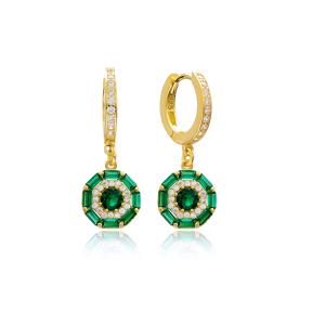 Baguette Dainty Design Emerald Stone Dangle Earring Turkish Wholesale 925 Sterling Silver Jewelry