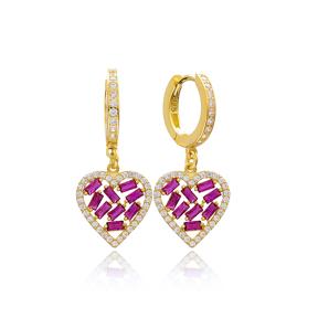 Ruby Stone Heart Design Baguette Wholesale Earring Turkish 925 Sterling Silver Jewelry