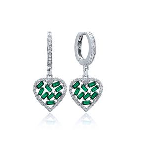 Emerald Stone Baguette Heart Design Wholesale Earring Turkish 925 Sterling Silver Jewelry