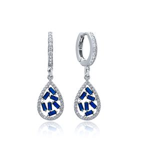 Sapphire Stone Drop Design Turkish Wholesale 925 Sterling Silver Dangle Earring