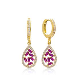 Drop Design Ruby Stone Dangle Earring Turkish Wholesale 925 Sterling Silver Jewelry