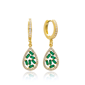 Emerald Stone Drop Design Dangle Earring Turkish Wholesale 925 Sterling Silver Jewelry