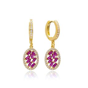 Oval Shape Ruby Stone Handmade Turkish Wholesale 925 Sterling Silver Dangle Earring