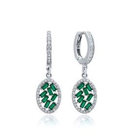 Oval Shape Emerald Stone Dangle Earring Turkish Wholesale 925 Sterling Silver Jewelry