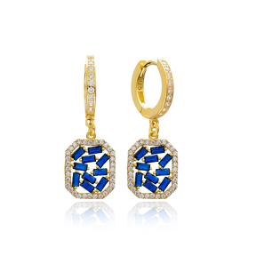 Sapphire Stone Dainty Dangle Earring Wholesale Handmade 925 Sterling Silver Jewelry