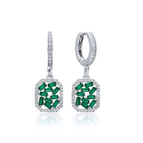 Emerald Stone Dainty Dangle Earring Wholesale Handmade 925 Sterling Silver Jewelry