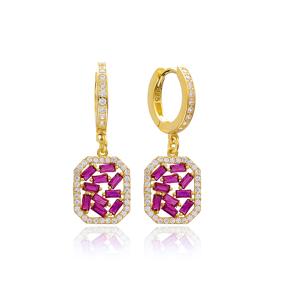 Ruby Stone Dainty Dangle Earring Wholesale Handmade 925 Sterling Silver Jewelry