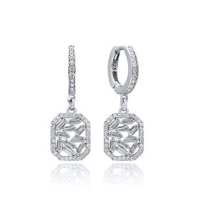 Zircon Stone Dainty Dangle Earring Wholesale Handmade 925 Sterling Silver Jewelry