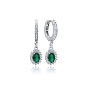 Emerald Stone Elegant Diamond Style Dangle Earring Turkish Wholesale 925 Sterling Silver Jewelry