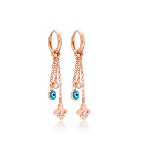 Dainty Evil Eye Lily Flower Charm 925 Sterling Silver Dangle Earring