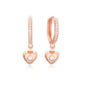 Heart Design Minimal Dangle Earrings Wholesale Turkish 925 Sterling Silver Jewelry