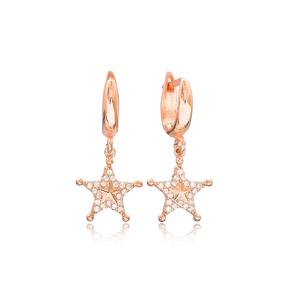 Star Design Zircon Dangle Earrings Turkish Wholesale Sterling Silver Jewelry