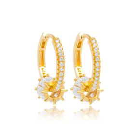 Baguette Stone Dangle Earrings Wholesale Turkish Sterling Silver Jewelry