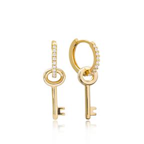 Key Charm Dangle Earrings Turkish Wholesale Handmade 925 Sterling Silver Jewelry