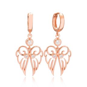 Angel Wings Shape Zircon Stone Turkish Wholesale Handmade 925 Sterling Silver Dangle Earrings