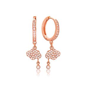 Cloud and Rain Charm Dangle Earrings Turkish Wholesale Handmade 925 Sterling Silver Jewelry