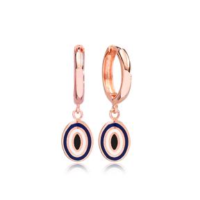 Oval Shape Evil Eye Design Turkish Wholesale 925 Sterling Silver Dangle Earrings
