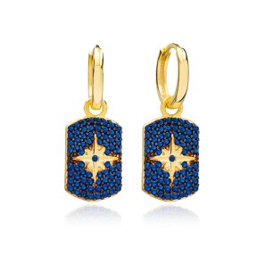 Sapphire North Star Shape Dangle Earrings Wholesale Turkish Handmade 925 Sterling Silver Jewelry
