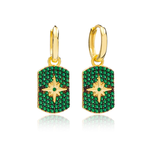 Emerald North Star Shape Dangle Earrings Wholesale Turkish Handmade 925 Sterling Silver Jewelry