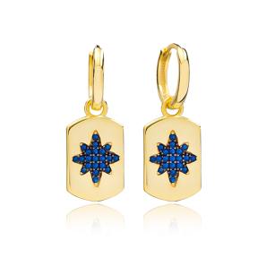 Sapphire Trendy Silver Dangle Earrings Wholesale Turkish Handmade 925 Sterling Silver Jewelry