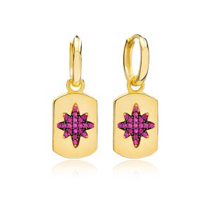 Ruby Trendy Silver Dangle Earrings Wholesale Turkish Handmade 925 Sterling Silver Jewelry