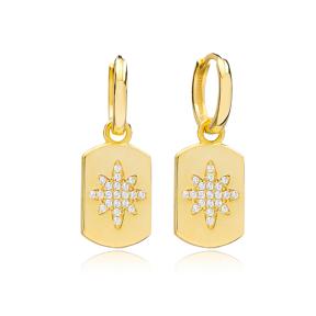 Zircon Trendy Silver Dangle Earrings Wholesale Turkish Handmade 925 Sterling Silver Jewelry