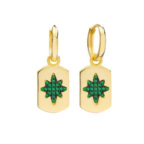 Emerald Trendy Silver Dangle Earrings Wholesale Turkish Handmade 925 Sterling Silver Jewelry
