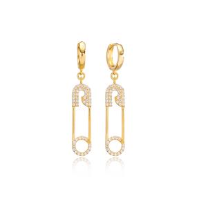 Trendy Safety Pin Zircon Dangle Earrings Wholesale Turkish Handmade 925 Sterling Silver Jewelry