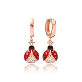 Ladybug Design Zircon Stone Turkish Wholesale Handmade 925 Sterling Silver Dangle Earrings