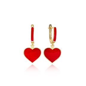 Red Enamel Heart Design Dangle Earrings Turkish Wholesale Sterling Silver Jewelry