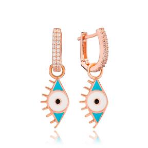 Blue Enamel Evil Eye Charm Dangle Earring Turkish Wholesale Handmade 925 Sterling Silver Jewelry