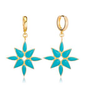 Blue Pink Enamel Dangle Earring Turkish Wholesale Handmade 925 Sterling Silver Jewelry