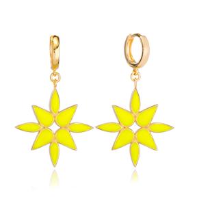 Yellow Pink Enamel Dangle Earring Turkish Wholesale Handmade 925 Sterling Silver Jewelry