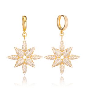 Zircon Stone Dangle Earring Turkish Wholesale Handmade 925 Sterling Silver Jewelry
