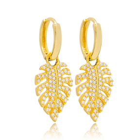 Tropical Leaf Design Earring Turkish Wholesale Handmade 925 Sterling Silver Jewelry