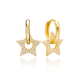 Star Design Earring Turkish Wholesale Handmade 925 Sterling Silver Jewelry