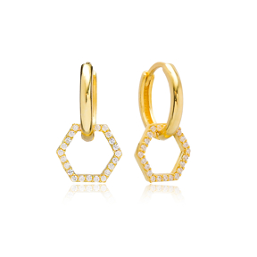 Hexagon Charm Earring Turkish Wholesale Handmade 925 Sterling Silver Jewelry