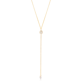 Elegant Zircon Stone Charm Y Design Necklace Wholesale Handmade 925 Silver Sterling Jewelry